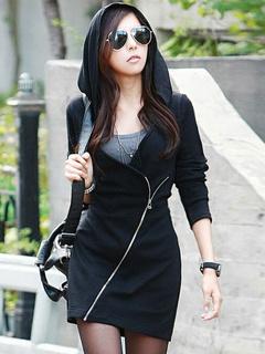 Black Zipper Cotton Mini Dress for Women