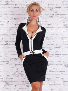 Two-Toned Deep-V Cotton Mini Dress for Women