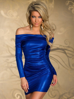 Blue Off-the-Shoulder Bodycon Club Dress for Women