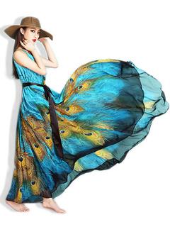 Multicolor Sash Trendy Chiffon Maxi Dress for Women
