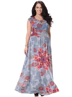 Plus Size Dress Print Chic Milk Silk Maxi Dress For Women