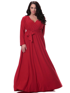 Plus Size Dress Red Sash Deep-V Ruched Cotton Flax Maxi Dress For Women