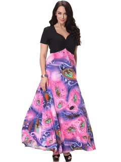 Plus Size Dress Deep-V Milk Silk Maxi Dress For Woman