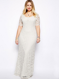 Plus Size DressWhite pizzo Maxi abito elegante per le donne 3eda2725e99