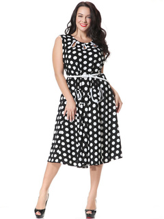 Plus Size Dress Two-Toned Polka Dots Acrylic Summer Dress For Women
