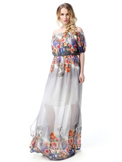 4c918b1f4766 Off-the-spalla lungo abito manica corta Plus Size Floral Print Maxi Dress in