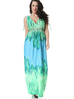 Plus Size Dress Print Sexy Acrylic Maxi Dress For Women