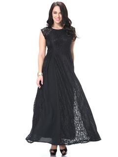 Plus Size Dress Black Lace Ruffles Maxi Dress For Men