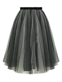 Deep Gray Ruffles Organza Skirt for Women