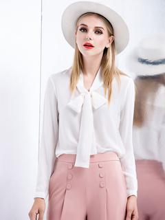 White Bow Silk Blouse for Women