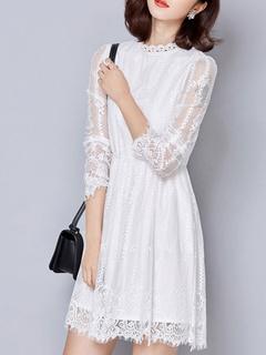 White Lace Elegant Shaping Flare Dress for Women