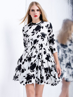Two-Toned Print Ruffles Cotton Flared Dress for Women