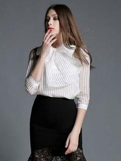 White Beaded Stripes Silk Blouse for Women