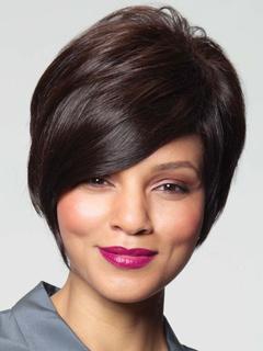 Deep Brown Human Hair Short Wigs For Women