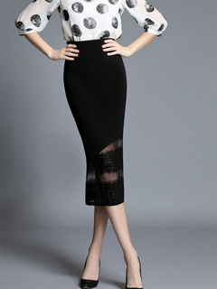 Black Lace Mermaid Cut-Outs Knit Skirt for Women