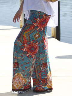 Multicolor Print Chic Polyester Pants for Women