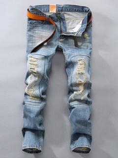 Light Blue Denim Straight Zippers Jeans for Men