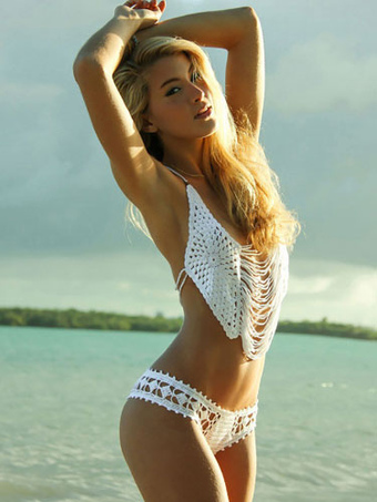 Crochet Two Piece Swimsuit White Halter Fringe Beach Bathing Suit For Women 464c8338d4