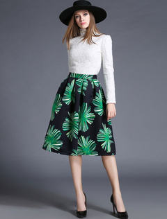 Multicolor Lace Print Top and Skirt for Women