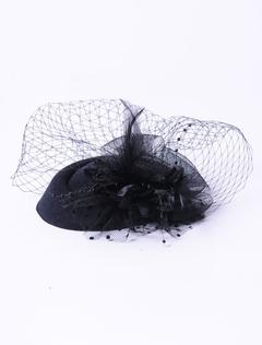 Black Net Flower Fascinator Hair Accessory for Women