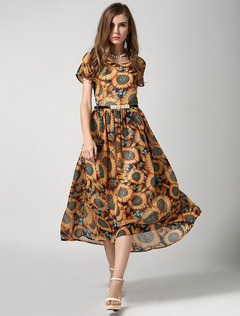 Multicolor Sash Print Chiffon Summer Dress for Women