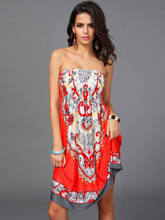 Multicolor Strapless Geometric Print Stretch Summer Dress for Women