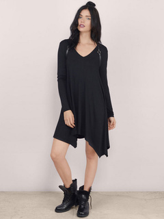 Black Cotton Casual Shift Dress for Women