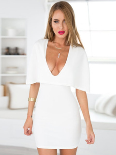 White Low-Cut Cotton Fibers Mini Dress for Women