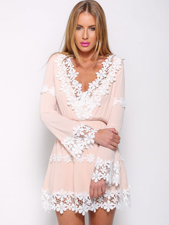 bca09e7d2c71 Pink Mini Dress Lace Patch Plunging Long Sleeve Beach Dress For Women