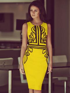 Yellow Print Acetate Woven Bodycon Dress for Women