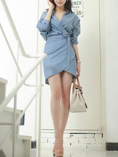 Light Blue Lace Up Wrap Front Cotton Dress for Women