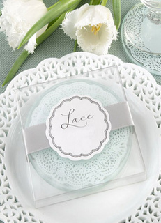 Multicolor Glass Lace Coaster Wedding Favors