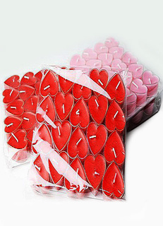 Red Heart Shape Wax Candle Wedding Favors