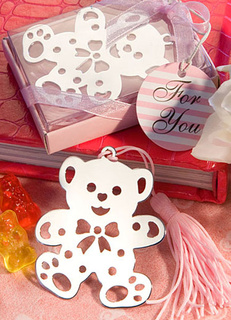 Silver Bear Fringe Stainless Steel Bookmark Wedding Favors