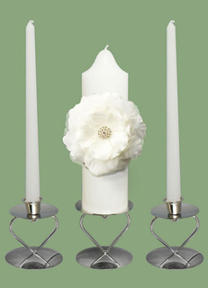 White Wax Candle with Flower Wedding Favors