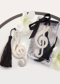 Silver Note Bow Fringe Stainless Steel Bookmark Wedding Favors