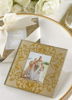 Gold Glass Coaster Wedding Favors