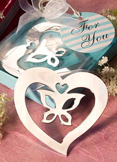 Silver Bow Heart Stainless Steel Bookmark Wedding Favors