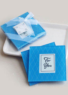 Blue Bow Snow Print Glass Coaster Wedding Favors