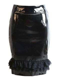 Black Lace Ruffle PVC Skirt for Women