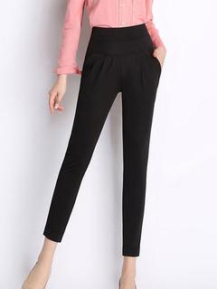 Black Slim Fit Elastic Waist Spandex Pants for Women