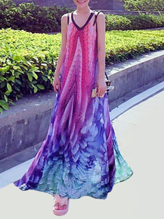 Multicolor Backless Chic Print Chiffon Maxi Dress for Women