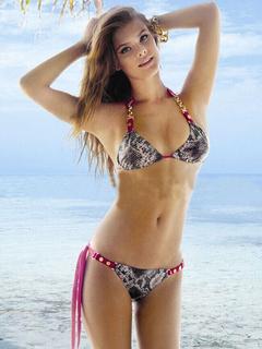 Multicolor Lace Up Print Lycra Spandex Bikini Suit for Women