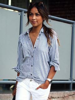 Blue Stripes Cotton Satin Chic Blouse for Women