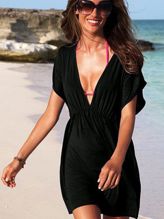 d0fd55da9a457 Swim Cover Up Black V Neck Short Sleeve Bathing Suit For Women