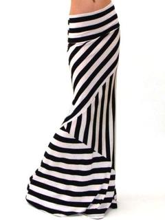 Two-Tone Stripes Print Roman Knit Trendy Maxi Skirt for Women
