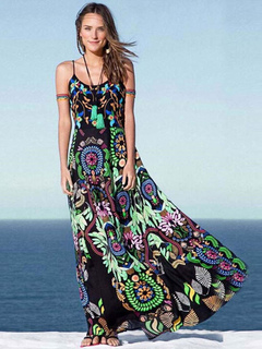 Multicolor Maxi Dress With Print Straps Cotton Satin for Women