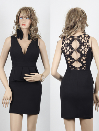 Sexy Black Women's Fake Two-Piece Dress With Lace Cut Out Back