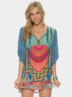 Multicolor Shift Dress With Print Chiffon for Women