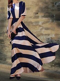 Two-Tone Maxi Dress With Stripes Print Cotton Satin for Women